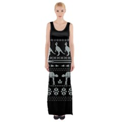 Holiday Party Attire Ugly Christmas Black Background Maxi Thigh Split Dress