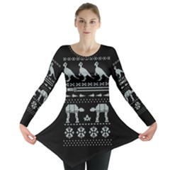 Holiday Party Attire Ugly Christmas Black Background Long Sleeve Tunic