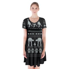 Holiday Party Attire Ugly Christmas Black Background Short Sleeve V-neck Flare Dress