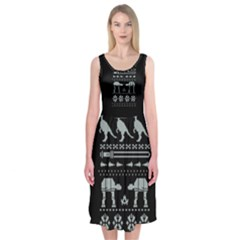 Holiday Party Attire Ugly Christmas Black Background Midi Sleeveless Dress
