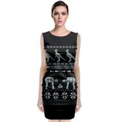 Holiday Party Attire Ugly Christmas Black Background Classic Sleeveless Midi Dress