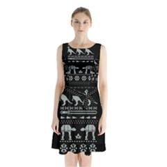 Holiday Party Attire Ugly Christmas Black Background Sleeveless Chiffon Waist Tie Dress