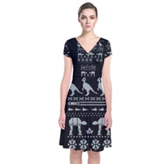 Holiday Party Attire Ugly Christmas Black Background Short Sleeve Front Wrap Dress