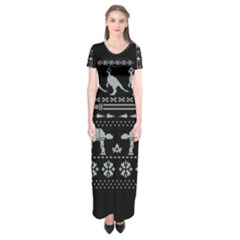 Holiday Party Attire Ugly Christmas Black Background Short Sleeve Maxi Dress