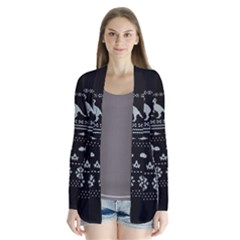 Holiday Party Attire Ugly Christmas Black Background Drape Collar Cardigan
