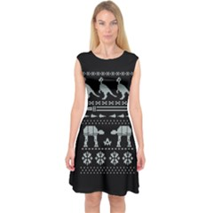 Holiday Party Attire Ugly Christmas Black Background Capsleeve Midi Dress