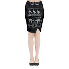 Holiday Party Attire Ugly Christmas Black Background Midi Wrap Pencil Skirt