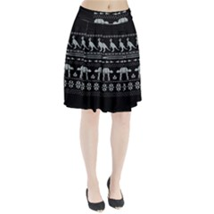 Holiday Party Attire Ugly Christmas Black Background Pleated Skirt