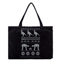 Holiday Party Attire Ugly Christmas Black Background Medium Tote Bag
