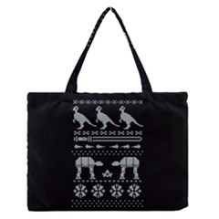 Holiday Party Attire Ugly Christmas Black Background Medium Zipper Tote Bag
