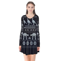 Holiday Party Attire Ugly Christmas Black Background Flare Dress