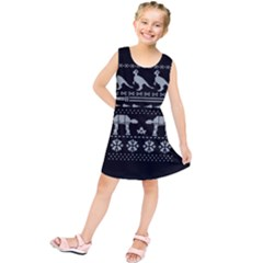 Holiday Party Attire Ugly Christmas Black Background Kids  Tunic Dress