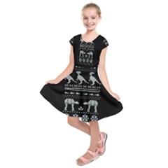 Holiday Party Attire Ugly Christmas Black Background Kids  Short Sleeve Dress