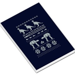 Holiday Party Attire Ugly Christmas Blue Background Large Memo Pads