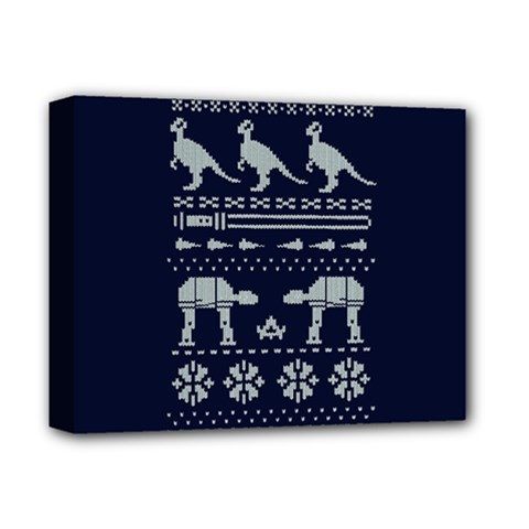 Holiday Party Attire Ugly Christmas Blue Background Deluxe Canvas 14  x 11