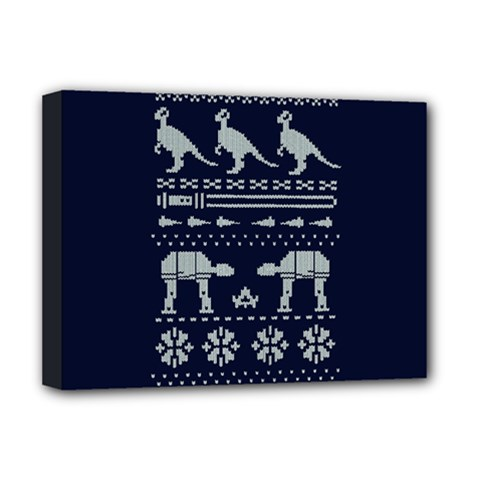 Holiday Party Attire Ugly Christmas Blue Background Deluxe Canvas 16  x 12