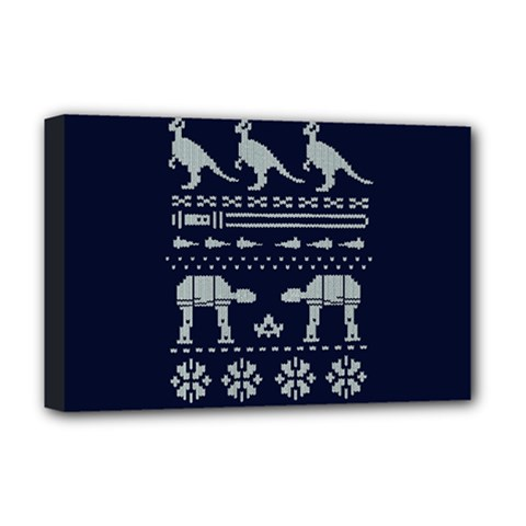 Holiday Party Attire Ugly Christmas Blue Background Deluxe Canvas 18  x 12