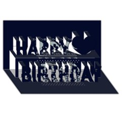Holiday Party Attire Ugly Christmas Blue Background Happy Birthday 3D Greeting Card (8x4)