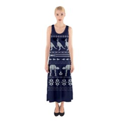 Holiday Party Attire Ugly Christmas Blue Background Sleeveless Maxi Dress
