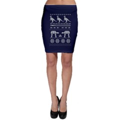 Holiday Party Attire Ugly Christmas Blue Background Bodycon Skirt
