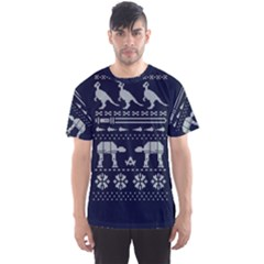 Holiday Party Attire Ugly Christmas Blue Background Men s Sport Mesh Tee