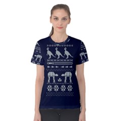 Holiday Party Attire Ugly Christmas Blue Background Women s Cotton Tee