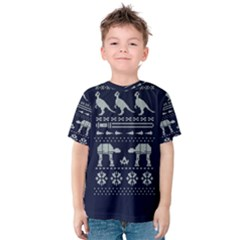 Holiday Party Attire Ugly Christmas Blue Background Kids  Cotton Tee