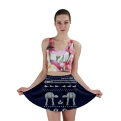 Holiday Party Attire Ugly Christmas Blue Background Mini Skirt