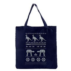 Holiday Party Attire Ugly Christmas Blue Background Grocery Tote Bag