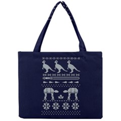 Holiday Party Attire Ugly Christmas Blue Background Mini Tote Bag
