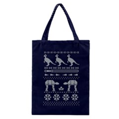 Holiday Party Attire Ugly Christmas Blue Background Classic Tote Bag