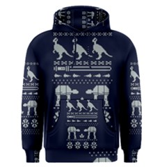 Holiday Party Attire Ugly Christmas Blue Background Men s Pullover Hoodie