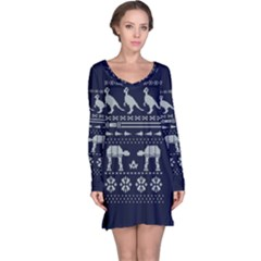 Holiday Party Attire Ugly Christmas Blue Background Long Sleeve Nightdress