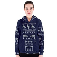 Holiday Party Attire Ugly Christmas Blue Background Women s Zipper Hoodie