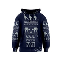 Holiday Party Attire Ugly Christmas Blue Background Kids  Zipper Hoodie