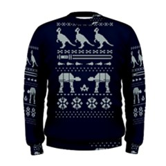 Holiday Party Attire Ugly Christmas Blue Background Men s Sweatshirt