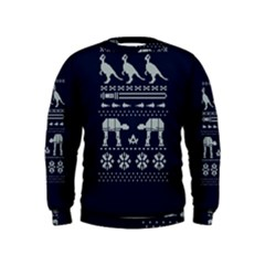 Holiday Party Attire Ugly Christmas Blue Background Kids  Sweatshirt