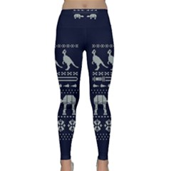 Holiday Party Attire Ugly Christmas Blue Background Classic Yoga Leggings