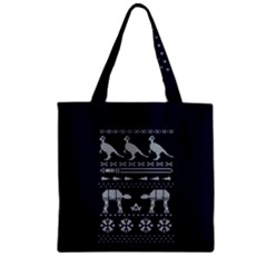 Holiday Party Attire Ugly Christmas Blue Background Zipper Grocery Tote Bag