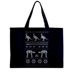 Holiday Party Attire Ugly Christmas Blue Background Zipper Mini Tote Bag