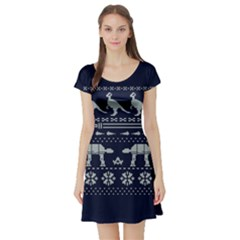 Holiday Party Attire Ugly Christmas Blue Background Short Sleeve Skater Dress