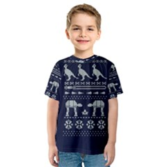 Holiday Party Attire Ugly Christmas Blue Background Kids  Sport Mesh Tee