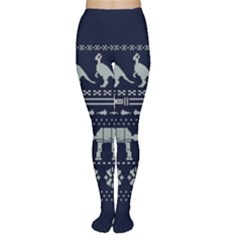 Holiday Party Attire Ugly Christmas Blue Background Women s Tights