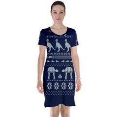 Holiday Party Attire Ugly Christmas Blue Background Short Sleeve Nightdress