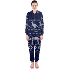 Holiday Party Attire Ugly Christmas Blue Background Hooded Jumpsuit (Ladies)