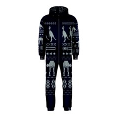 Holiday Party Attire Ugly Christmas Blue Background Hooded Jumpsuit (Kids)