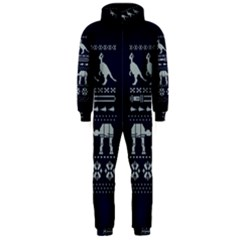 Holiday Party Attire Ugly Christmas Blue Background Hooded Jumpsuit (Men)