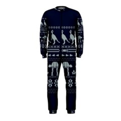 Holiday Party Attire Ugly Christmas Blue Background OnePiece Jumpsuit (Kids)