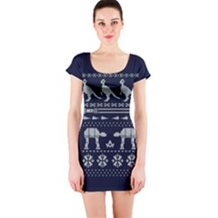 Holiday Party Attire Ugly Christmas Blue Background Short Sleeve Bodycon Dress