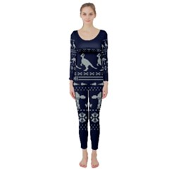 Holiday Party Attire Ugly Christmas Blue Background Long Sleeve Catsuit